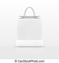 Realistic white Paper shopping bag with handles isolated on white background. Vector illustration