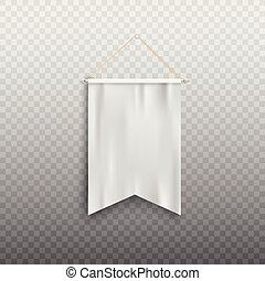 Realistic white pennant flag mock up hanging on the wall