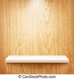 realistic white shelf on wooden wall