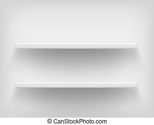 Realistic white shelves. shelves on white background. Voluminous racks with a shadow. illustrations of empty store stand in the supermarket, front view