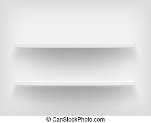 Realistic white shelves.