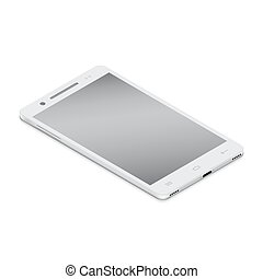 Realistic white smartphone cellular in isometry on a white background.