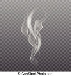 Realistic white smoke on transparent background. Vector.