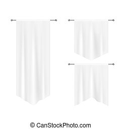 Realistic white textile banners with folds