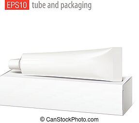 Realistic white tube and packaging. - Cool Realistic white...