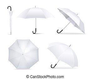 Realistic white umbrella open and folded lying in different angles - classic weather accessory from top and side view isolated on white background, vector illustration
