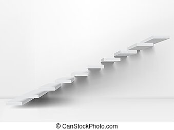 Realistic White Upward Clear Stairs In Empty Room. EPS10...