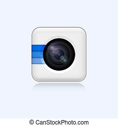 Realistic white web camera icon on white background design Vector Illustration