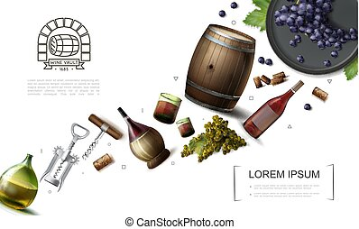 Realistic Winemaking Elements Collection