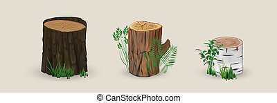 Realistic wood stumps mockup