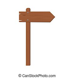 Realistic wooden arrow nailed isolated. Flat Vector illustration.