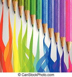 Realistic wooden colorful pencils, vector