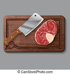 Realistic wooden cutting board, meat and knife