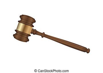 Realistic wooden judge gavel. vector illustration
