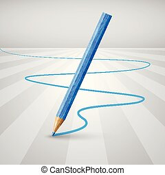 Realistic wooden pencil on a white background, vector illustration