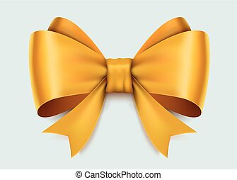 Realistic yellow bow isolated on white background.