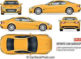 Realistic yellow car vector illustration