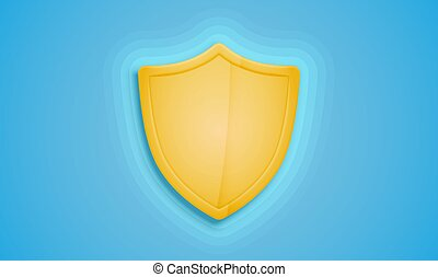 Realistic yellow shield on a blue background, vector illustration