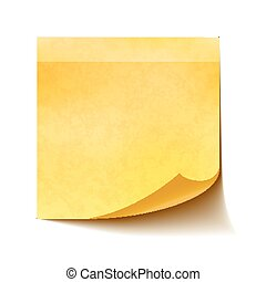 Realistic yellow sticky note on white background