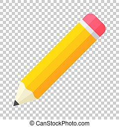 Realistic yellow wooden pencil with rubber eraser icon in flat style. Highlighter vector illustration on isolated background. Pencil business concept.
