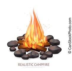 realistický, campfire, grafické pozadí, komponování