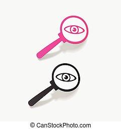 realistický, design, element., detektiv