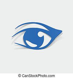 realistický, element:, design, oko