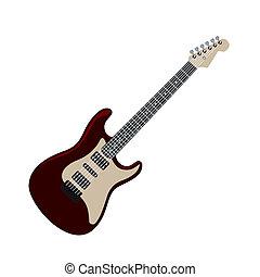 realistický, ilustrace, elektrický kytara