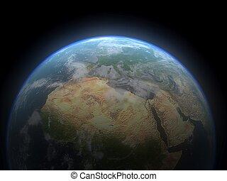 realistico, 3d, terra, globe., elementi, di, questo, immagine, ammobiliato, vicino, nasa