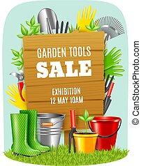 realistico, attrezzi, giardino, manifesto