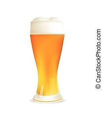 realistico, beer., isolato, illustrazione, vetro, vettore, o, icona
