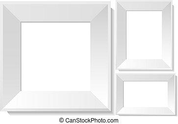 realistico, bianco, cornici foto