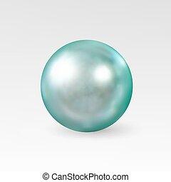 realistico, bianco, isolato, fondo, perla