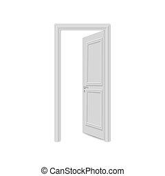 realistico, bianco, porta, isolato, fondo