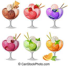 realistico, bianco, set, icecreams