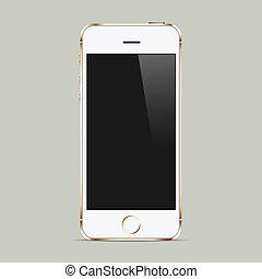 realistico, bianco, telefono mobile, con, schermo vuoto