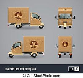 realistico, caffè, camion, disegno