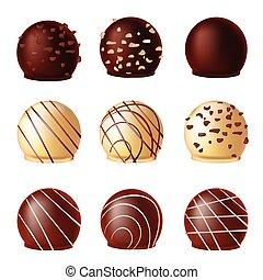 realistico, cioccolati, vettore, set