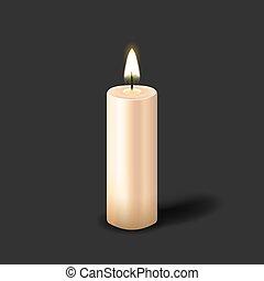 realistico, colonna, urente, candela