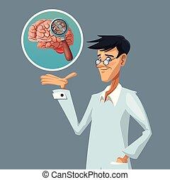 realistico, colorare, manifesto, ricerca, cervello, scienziato, closeup