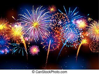 realistico, colorito, fireworks