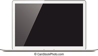 realistico, computer portatile, argento, mockup