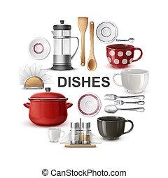 realistico, concetto, coltelleria, piatti, rotondo