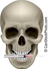 realistico, cranio, sigaretta