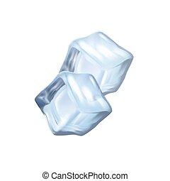 realistico, cubi, due, ghiaccio