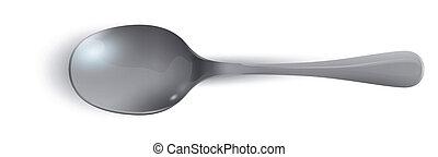 realistico, cucchiaio, sfondo bianco