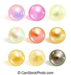 realistico, differente, colori, set., perle