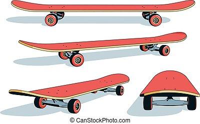 realistico, differente, skateboard, cartone animato, angoli