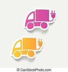 realistico, disegno, element:, eco, automobile