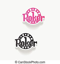 realistico, disegno, element:, poker